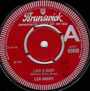 NORTHERN SOUL - LEN BARRY - LIKE A BABY - UK BRUNSWICK DEMO