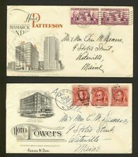 2x USA United States Hotel Advertising Covers Fargo & Bismarck N.D. 1939 & 1940