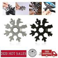 Snowflake Multi-Tool Black 1 Piece 18-in-1 high Grade Stainless Steel Snowflake Portable Tool with Mountaineering Buckle Clip and Key Ring