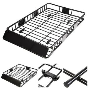 """Universal 64"""" Roof Rack Car Top Cargo Basket Carrier w/ Extension Luggage Holder"""