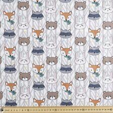 Fabric Woodland Friends Animals Faces Fox Cotton Fat Quarter Quilting Material