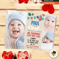 10 Personalised Photo Boys 1st First Birthday Party Star PHOTO Invitations