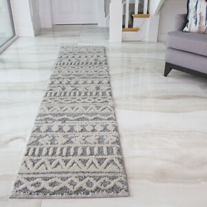 Grey Tribal Aztec Runner Rugs for Hallway | Extra Long Hall Carpet Runners Cheap