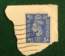KING GEORGE POSTAGE REVENUE 2 1/2 D BLUE USED STAMP