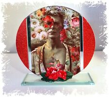 David Bowie, Golden Years Cut Glass Round Plaque Red Roses Ltd Edition  #1