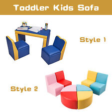 Toddler Kids Leather Sofa Couch Table Chair Stool Set Play Furniture Child Gift