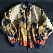 New listing Vintage Picasso Silk Jacket Bomber Art Graphic Fashion Design Paint L/Xl