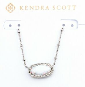 KENDRA SCOTT Rhodium Elisa Satellite 150 White Kyocera Opal Illusion Necklace