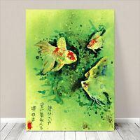 "Beautiful Vintage Asian Art ~ CANVAS PRINT 36x24"" ~ Goldfish Green Watercolor"