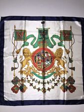 """Lion Crest Colorful 34"""" Scarf Handkerchief Royal Coat of Arms Gold Green White"""