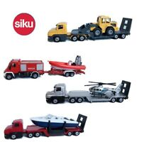 1/64 Siku Alloy Diecast Truck LOW Loadr W Boat /Helicopter/Vehicles Model Toys