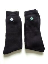 MENS COTTON SPORTS SOCKS  BLACK WITH LOGO  2 PAIRS SIZE 6 - 11