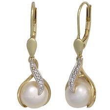 Pendientes 585 oro Amarillo Oro 2 Agua Dulce Perlas 6 Diamantes Pendientes