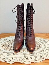 ANTIQUE Victorian Boots Ladies High-Top Lace-Up Brown Leather