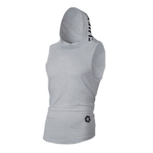 Mens Muscle Fitness Hoodie Tank Tops Gym Workout Sleeveless Loose Vest T-shirts