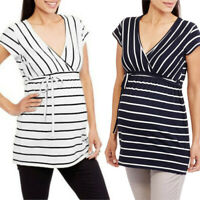 Women Maternity Nursing Vest Tank Pregnant Stripe Sleeveless Tops T Shirt Blouse