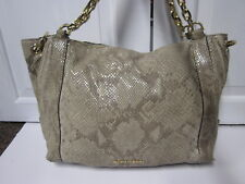 Michael Kors USED Moxley Tan Python Snake Chain Leather Embossed Bag Purse Hobo