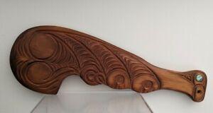 "Vintage Maori Wahaika - New Zealand - 18"" wooden hand club - with shell inlay"