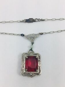 Antique Art Deco Filigree Ruby Glass Stone Necklace Rhodium Plate Sterling Clasp
