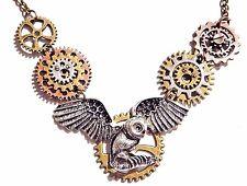 STEAMPUNK OWL PENDANT clockwork gears necklace bronze Archimedes Hedwig 6Y