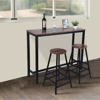 Wood Counter Height Dining Table Set of 3 Piece Bar Pub Kitchen Stools -US