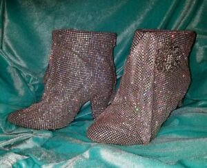 CINDERELLA CRYSTAL DRAPED BRIDAL WEDDING ANKLE BOOTIES PARTY CLUB COSTUME
