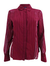 Tommy Hilfiger Women's Shadow-Stripe Blouse (XL, Merlot)