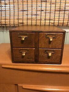 4 Drawer Oak Wood Library Card Catalog Cabinet
