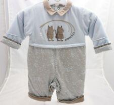 8048363945f2c Mini Jungle combinaison doublée bleu et beige motif chats bébé garçon 3 mois