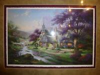 Clocktower Cottage Art Print THOMAS KINKADE High Quality in floating frame 72x57