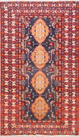 One-of-a-kind Geometric Tribal Ardebil Oriental Hand-Knotted Blue Runner Rug 4x8
