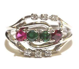 10k white gold .06ct VS1 G diamond ruby emerald Mothers gemstone ring 2.8g 4.75