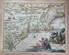 NEW ENGLAND NEW YORK 1673 MONTANUS Arnoldus UNUSUAL ANTIQUE MAP 17TH CENTURY