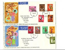 Singapore 1968 FDC set on 2 covers Sc#86 to 95