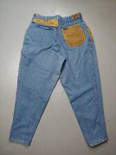 Lee Jeans Leather Pocket Patches Vintage Women's 33.5 Waist rare VTG distressed