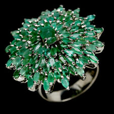 NATURAL GREEN EMERALD & WHITE CZ STERLING 925 SILVER RING SZ 8.5