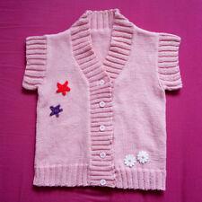 Pull rose sans manches fait main 100% coton enfant 3 ans