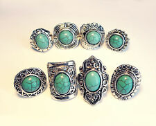 Three Statement Turquoise Rings-Boho Stone-Vintage Jewellery-Tribal Hippy Ring