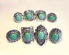 Three Geometric Navajo Rings-Turquoise Stone-Vintage Jewellery-Tribal Aztec Ring