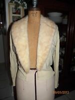 vintage beige cashmere mink fur collar kitten sweater small S needs brooch 18in
