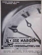 PUBLICITÉ MONTRES ET CHRONOMETRES D'OR ULYSSE NARDIN