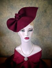 Vintage Style 1940s Inspired Burgundy Sculptured Felt Hat Can Be Worn 2 Ways