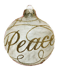 4In Peace Handcrafted Clear Glass Christmas Ornaments