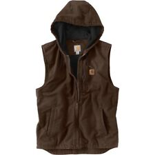 Carhartt Knoxville Hooded Vest MEN'S LARGE Sandstone Duck Fleece Lined Brown NWT