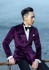 Men's Purple Velvet Double Breasted Bespoke Wedding Suit With Peak Lapels NEW US