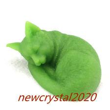 "2"" Luminous Stone Sleeping Cat Carved Quartz Crystal  Skull Reiki Healing 1pc"