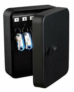 AdirOffice Black Steel 30 Key Secure Cabinet Combination Lock Key Storage Box