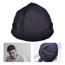 Men Unisex Adjust Retro Cotton Beanie Skullcap Summer Roll Hat Cuff Cap Brimless