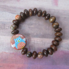 Whimsical Owl Beaded Stretch Bracelet with Wood Beads