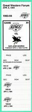 4-5-94 SHARKS AT KINGS UNUSED NHL FULL TICKET   ROBITAILLE GOAL   GRETZKY ASSIST